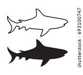 black shark silhouette  vector...   Shutterstock .eps vector #693100747