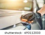 car detailing   man applies...   Shutterstock . vector #693112033