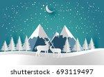 deer in snow forest. christmas...   Shutterstock .eps vector #693119497