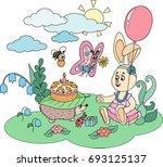 scene with cartoon animals ... | Shutterstock .eps vector #693125137