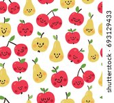 cute seamles pattern with fruit | Shutterstock .eps vector #693129433