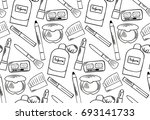 seamless pattern with hand... | Shutterstock .eps vector #693141733