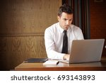 serious businessman stressed... | Shutterstock . vector #693143893
