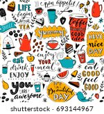 cafe pattern with doodle tea... | Shutterstock .eps vector #693144967