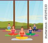 young fitness women practicing... | Shutterstock .eps vector #693195133