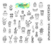 succulents and cacti hand drawn ... | Shutterstock . vector #693195343