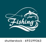 fishing emblem with tuna  waves ... | Shutterstock .eps vector #693199363