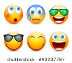 smiley with blue eyes emoticon... | Shutterstock .eps vector #693237787