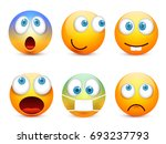 smiley with blue eyes emoticon... | Shutterstock .eps vector #693237793