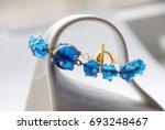 Blue Glass Bead Bracelet With...