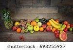 healty organic mix of fruits... | Shutterstock . vector #693255937