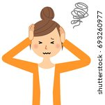 young woman mama to hold a head   Shutterstock .eps vector #693260977