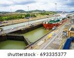 miraflores locks in panama city ... | Shutterstock . vector #693335377