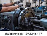 close up hand  heavy industrial ... | Shutterstock . vector #693346447