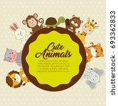 cute animals baby shower card | Shutterstock .eps vector #693362833