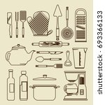 kitchen utensils vintage icon... | Shutterstock .eps vector #693366133