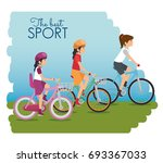 people riding bycicle | Shutterstock .eps vector #693367033