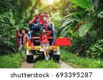 group of people hiking and... | Shutterstock . vector #693395287