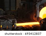close up of rolling hot steel   | Shutterstock . vector #693412837