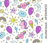 cute seamless pattern with... | Shutterstock .eps vector #693449653