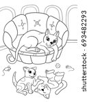 childrens coloring book cartoon ... | Shutterstock .eps vector #693482293