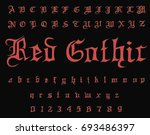 gothic  font   typewriter font... | Shutterstock .eps vector #693486397