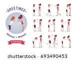female clerks greeting ... | Shutterstock .eps vector #693490453