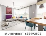 contemporary living room for... | Shutterstock . vector #693493573