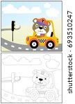 bear the taxi driver  vector... | Shutterstock .eps vector #693510247