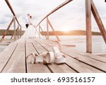 fashionable bride shoes on the... | Shutterstock . vector #693516157