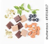 healthy vegan snacks  pumpkin... | Shutterstock . vector #693518317