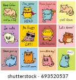 vector cards with cute cats and ... | Shutterstock .eps vector #693520537