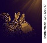 young muslim girl during duaa ... | Shutterstock . vector #693521047