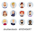 set of diverse round avatars... | Shutterstock .eps vector #693543697
