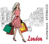 walking woman with shopping... | Shutterstock . vector #693586123