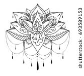 mendi  mehendi  tattoo for... | Shutterstock .eps vector #693589153