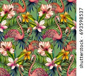 seamless floral backgrouynd ... | Shutterstock . vector #693598537