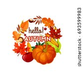 autumn harvest vegetable  fruit ... | Shutterstock .eps vector #693599983
