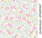 seamless background with floral ... | Shutterstock .eps vector #693605467