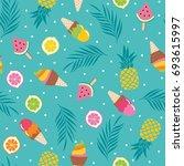 cute bright summer holidays... | Shutterstock .eps vector #693615997