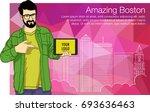 caucasian student holding... | Shutterstock .eps vector #693636463