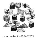 sushi and rolls of hand drawn... | Shutterstock .eps vector #693637297