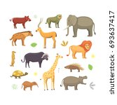 african animals cartoon set.... | Shutterstock . vector #693637417