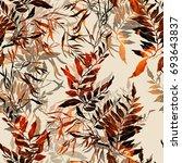 imprints herbs seamless pattern.... | Shutterstock . vector #693643837