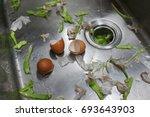 peeling vegetables and egg... | Shutterstock . vector #693643903