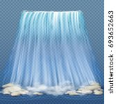 realistic waterfall with blue... | Shutterstock . vector #693652663
