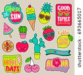 Stock vector set of girl fashion patches colorful cute cartoon badges fun stickers design vector in summer 693665017