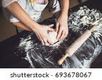 mother and daughter cooking at... | Shutterstock . vector #693678067