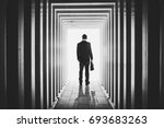 businessman in line shaped... | Shutterstock . vector #693683263