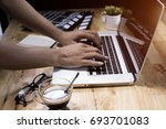 work pc coffee glasses   Shutterstock . vector #693701083